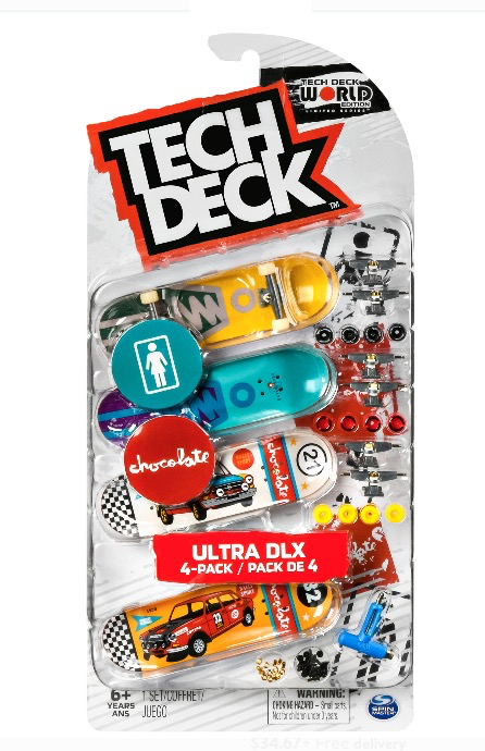 Tech Deck, Ultra DLX Fingerboard 4-Pack, Girl/Chocolate