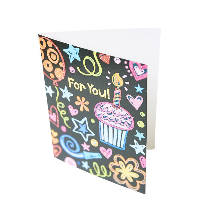Peaceable Kingdom Doodle Birthday Card Glitter Enclosure