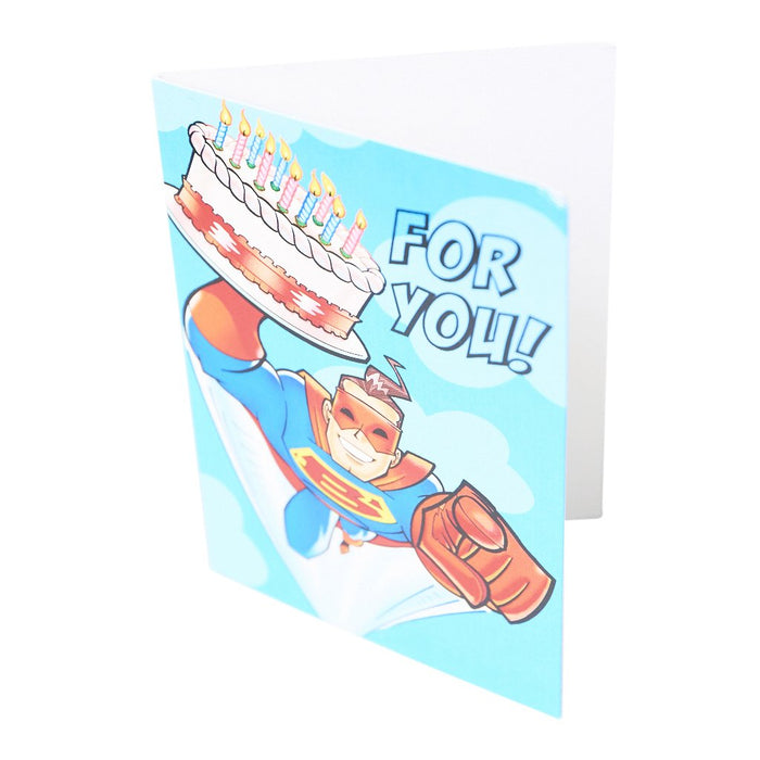 Peaceable Kingdom Superhero with Cake Greeting Enclosure
