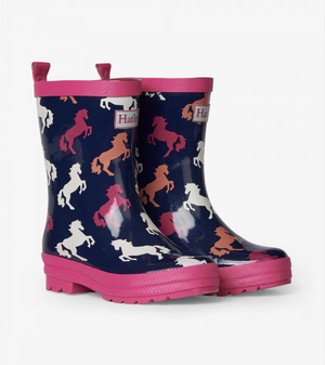 Hatley Playful Horses Shiny Rain Boots (Little Kid)