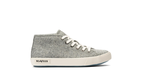 SEAVEES KIDS CALIFORNIA SPECIAL VARSITY WOOL FLANNEL SNEAKER in Light Grey in Side View of Right Shoe