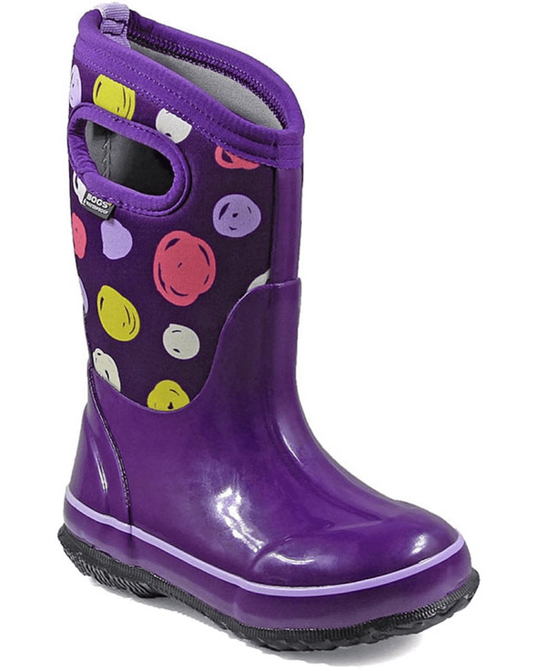 Bogs Classic Sketched Dots Kids' Insulated Boots Purple Multi Front Side View