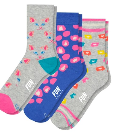 Fun Socks 3 Pack Cats