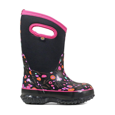 Bogs Classic Cattails Kids' Insulated Boots Black Multi Side View