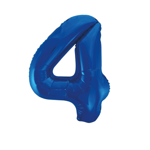 "Unique 34"" Giant Blue Foil Number 4 Balloon"