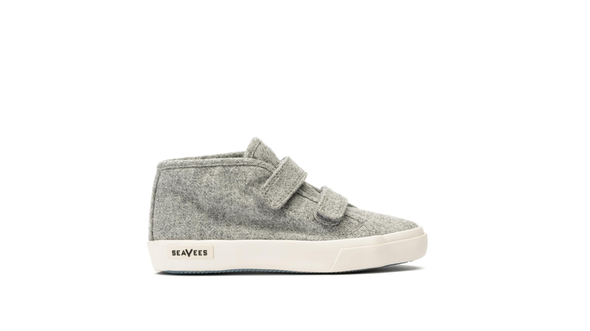 SeaVees Kids California Special Varsity Wool Flannel Sneaker in Light Grey in Side View Right Shoe