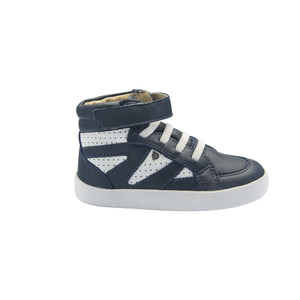 Old Soles New Leader High Top (Toddler/Little Kid) Navy/White side view