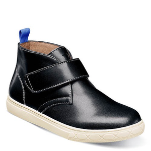 Florsheim Curb Jr in Black in Side/Front View