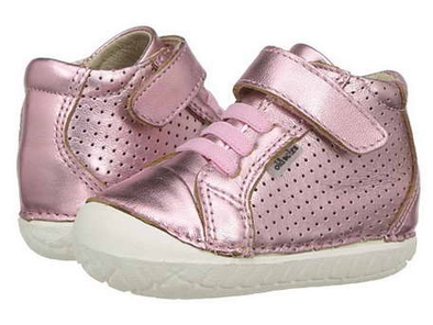 Old Soles Pave Cheer Leather Bootie (Toddler) Pink front side view