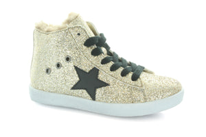 Hoo Shoes Fay's Fur Star Lace High Top (Little Kid/Big Kid)