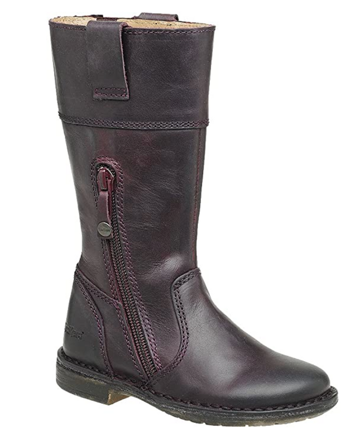 Kickers Groove Up Bordeaux Leather Girls Ridding Tall Boot (Big Kid)