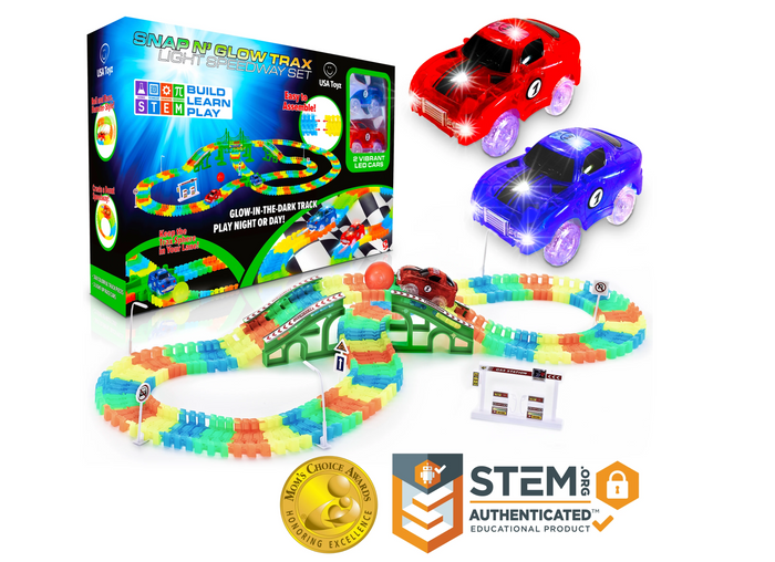 USA Toyz Glow Race Tracks and LED Toy Cars - 360pk STEM Building Glow in The Dark Bendable Rainbow Race Track Set with 2 Light Up Toy Cars