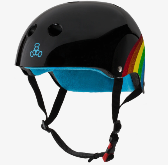 Triple8 Certified Sweatsaver Helmet - Rainbow Sparkle Black S/M