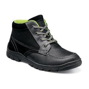 Florsheim Trektion Hike Jr in Black Lace up Mid Top Shoe in Side View