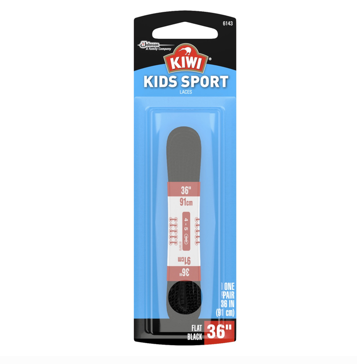 Kiwi Kids Sport Flat Laces - Black 36 Inch