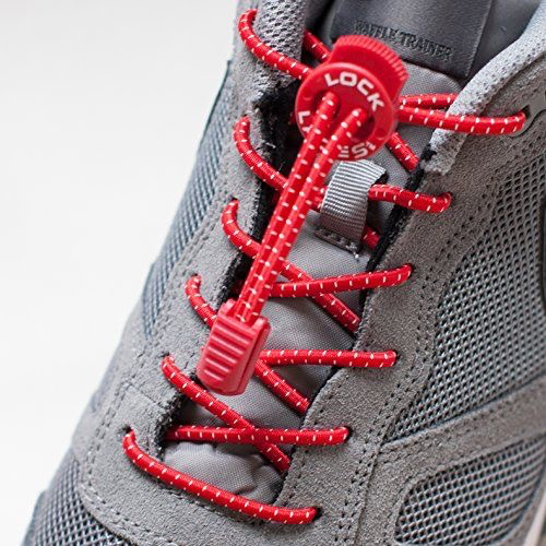Lock Laces Elastic No Tie Shoelaces- Red