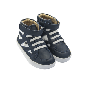 Old Soles New Leader High Top (Toddler/Little Kid) Navy/White side front view