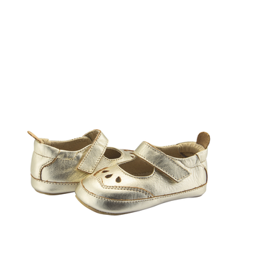 Old Soles College Baby Mary Jane (Infant/Toddler) Gold front side view