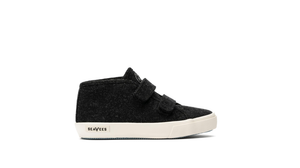 SeaVees Kids California Special Varsity Wool Flannel Sneaker in Black in Side View of Right Shoe