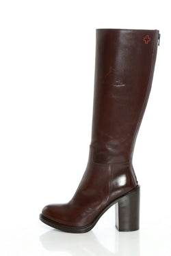 High leather boots in Ebony by A.F.Vandevorst