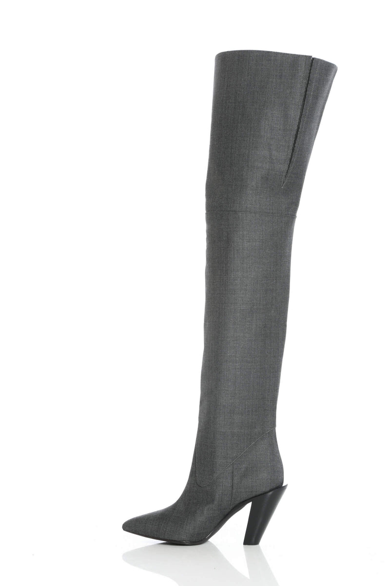 Over knee boots with tonal stripes by A.F.Vandevorst