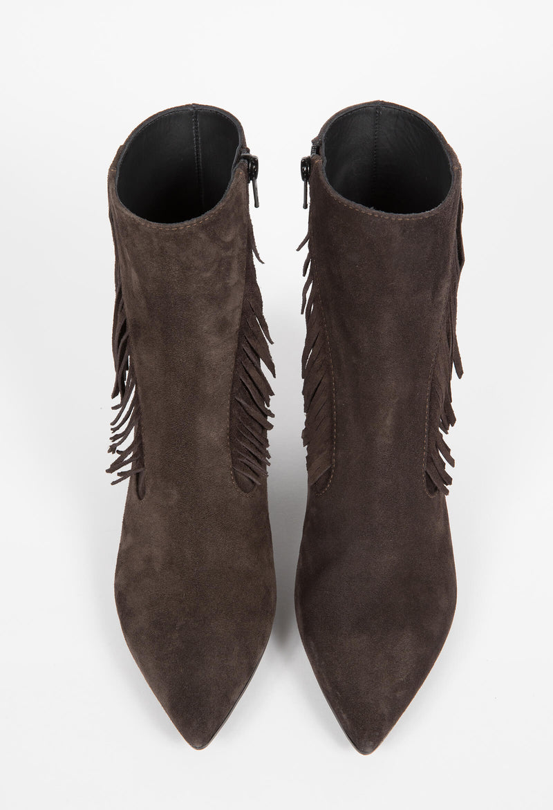 Western fringe ankle boots