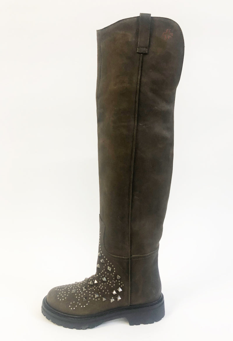 Over the knee nubuck boots