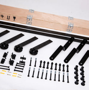 TL Flat Roller Bypass Sliding Barn Door Hardware Track Kit Set