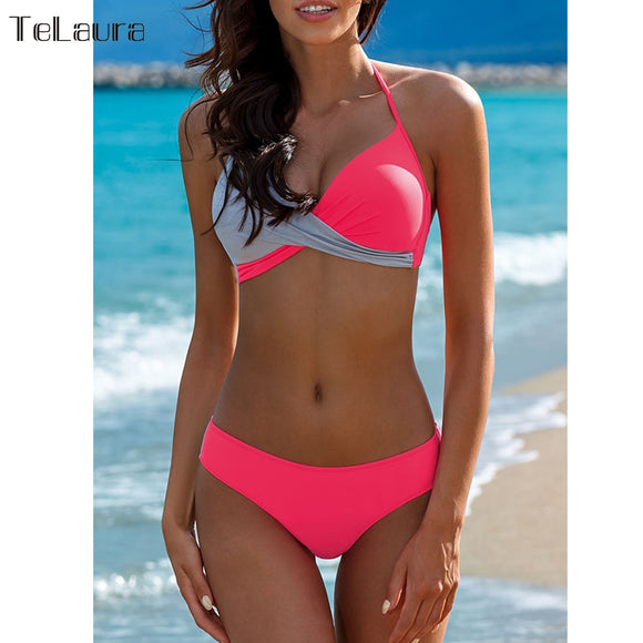 Telaura two-tone Cross bandage Bikini (Specials) - Merchant Hunter