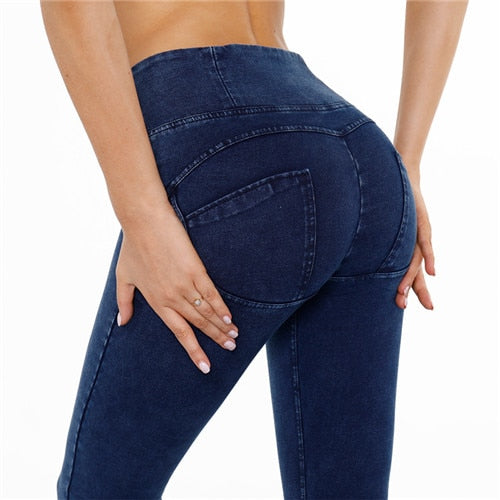 Peaches Special Edition Denim colour High waist shaping pants (Pre-order) - Merchant Hunter