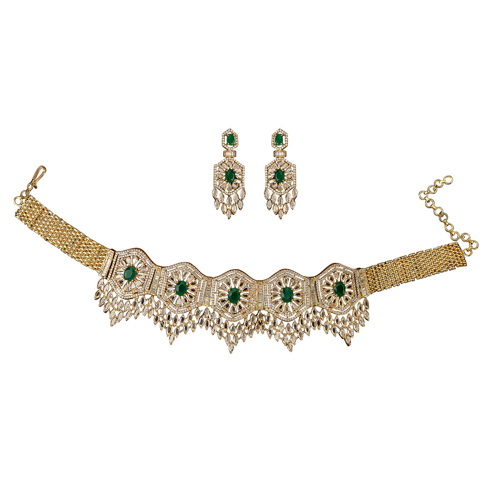Anokhi Choker Set - Emerald By Jaipur Rose Designer Jewelry