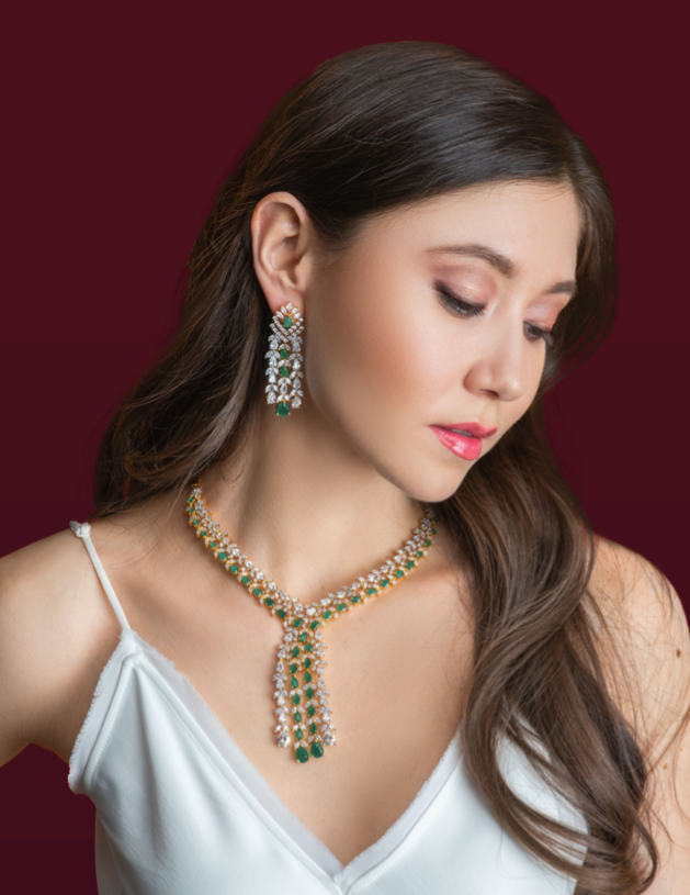 Ava Waterfall Drop Statement Necklace & Earring Set Emerald Green by Jaipur Rose Luxury Indian Designer Jewellery
