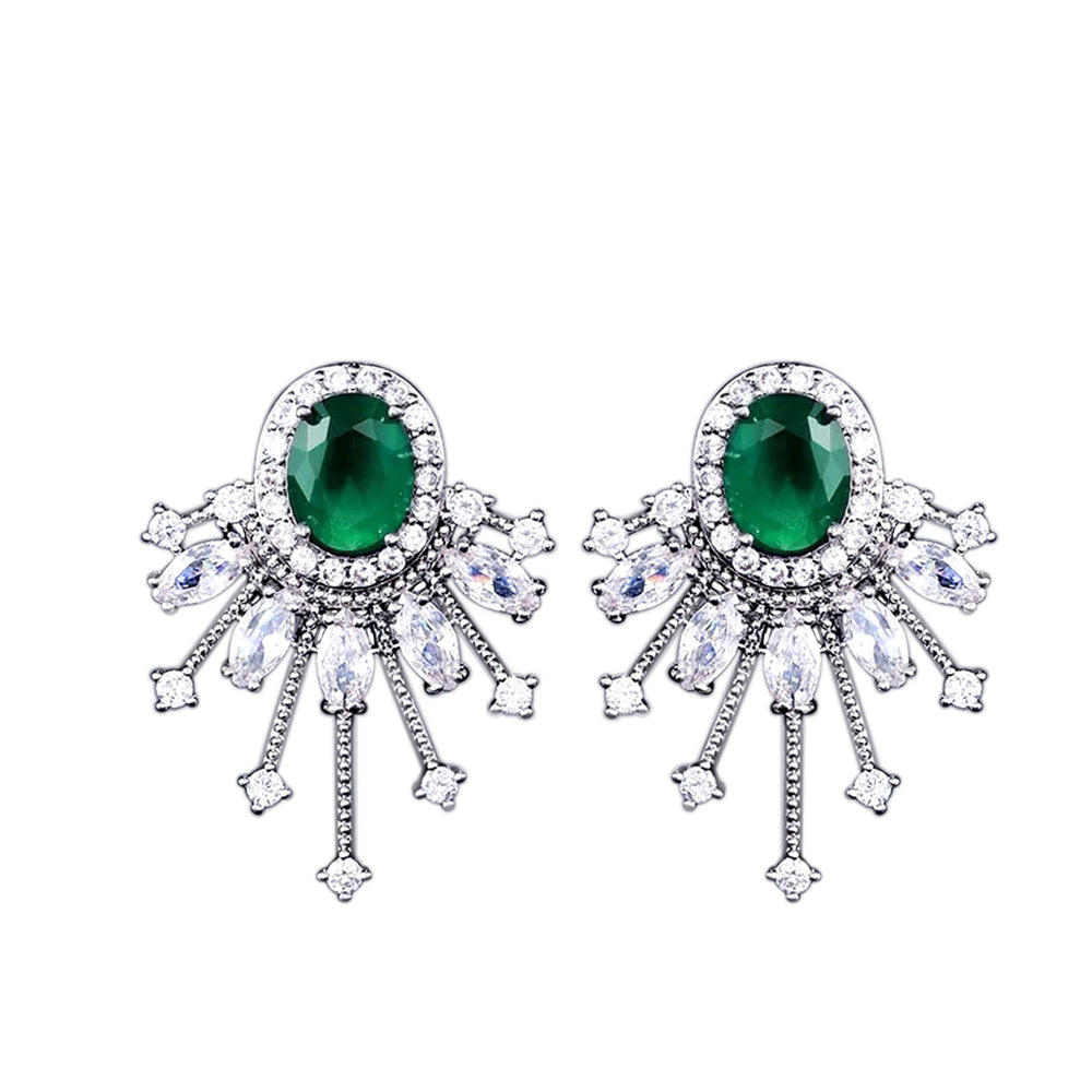 Celine statement studs crystal swarovski jewelry earrings long statement earrings jaipur rose wedding dubai prom jewellery diwali eid gift desi glam emerald green