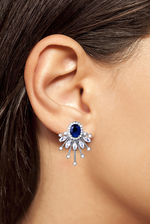 Celine statement studs crystal swarovski jewelry earrings long statement earrings jaipur rose wedding dubai prom jewellery diwali eid gift desi glam sapphire blue