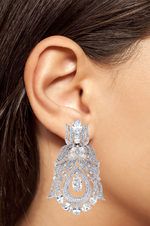 Angel Earrings White Gold By Jaipur Rose