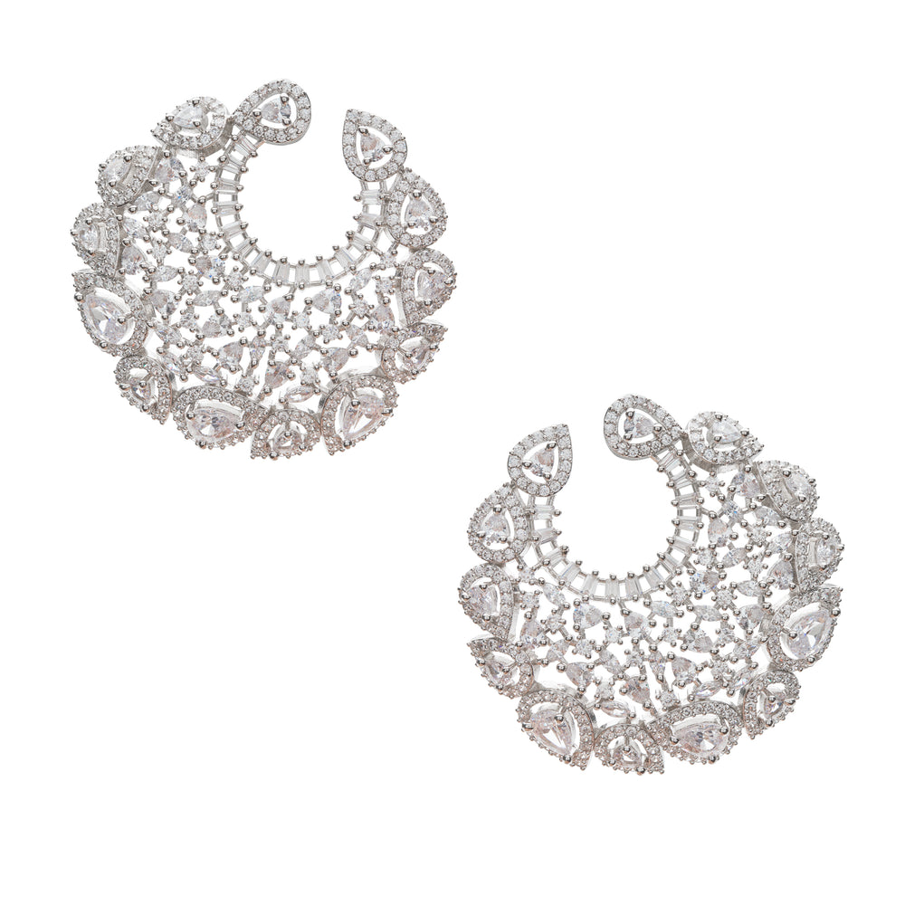 Elle Statement Hoop White Gold Plated Earrings by Jaipur Rose Indian Designer Jewelry