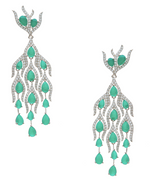 Alizey Designer Statement Chandelier Earrings Emerald