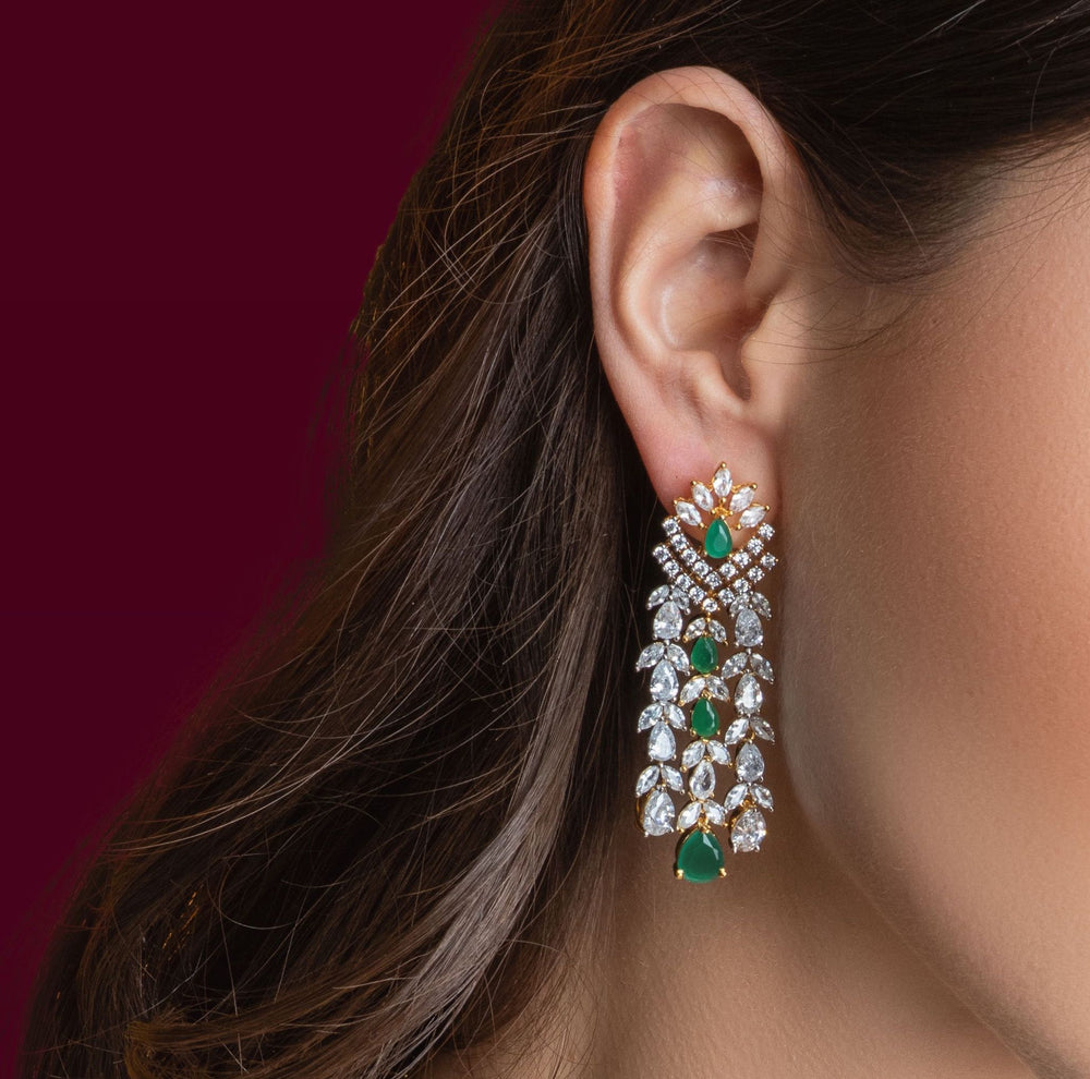 Ava Emerald Green Waterfall Drop Statement Earrings Jaipur Rose Gold Plated Indian Jewelry