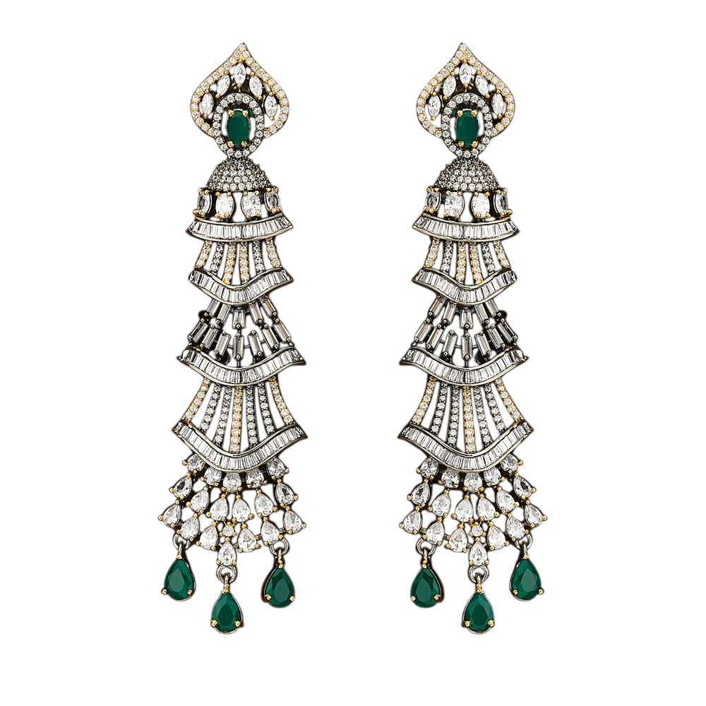 Milana emerlad gold jewelry earrings long statement earrings jaipur rose wedding dubai prom jewellery diwali eid gift desi
