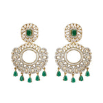 Avani Statement Designer Indian Earrings Emerald Green by Jaipur Rose Designer Indian Jewellery