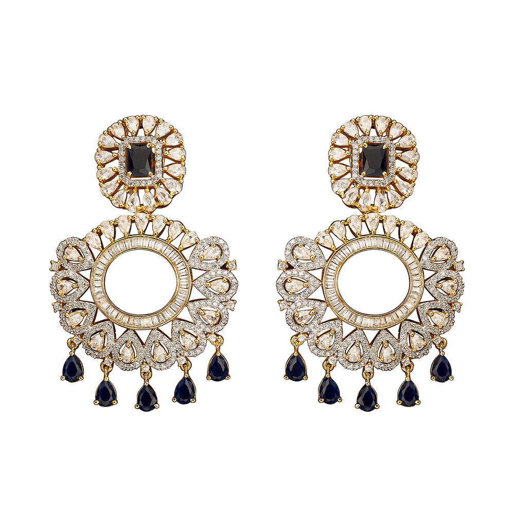 Avani Statement Earrings Sapphire by Jaipur Rose Designer Indian Jewelry