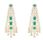 Rosalie Statement Earrings In Emerald By Jaipur Rose
