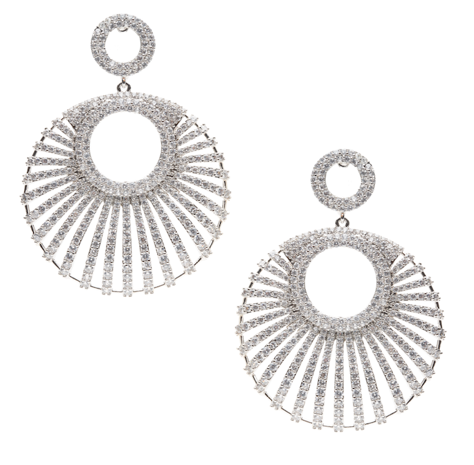 Asifa Designer Statement Earrings White Gold by Jaipur Rose Luxury Indian Statement Jewelry