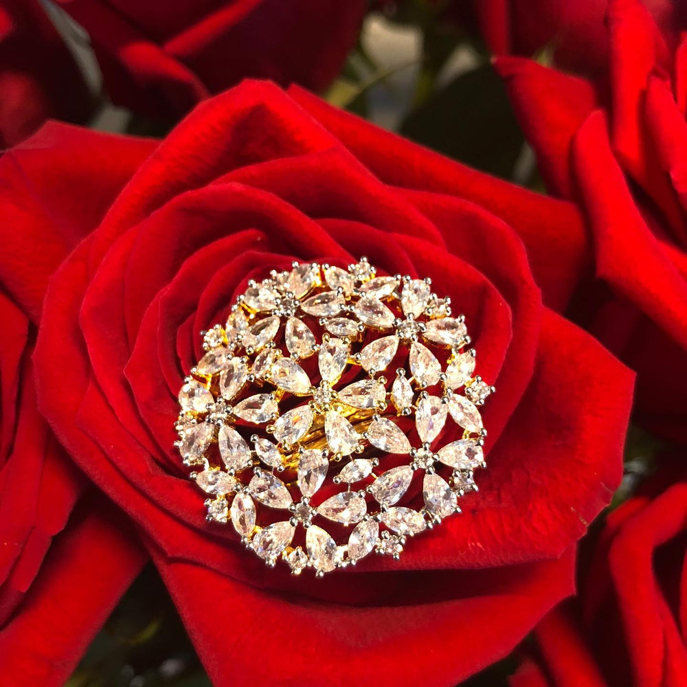 Jasmine Floral Statement Cocktail Ring Goldplated CZ Stylish Jewelry by Jaipur Rose