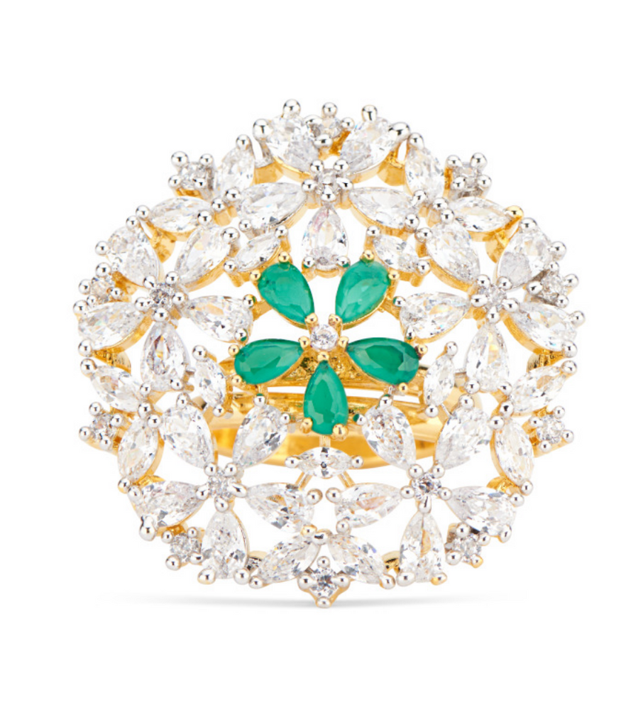 Jasmine Floral Statement Ring With Green Stones by Jaipur Rose Designer Indian Jewelry