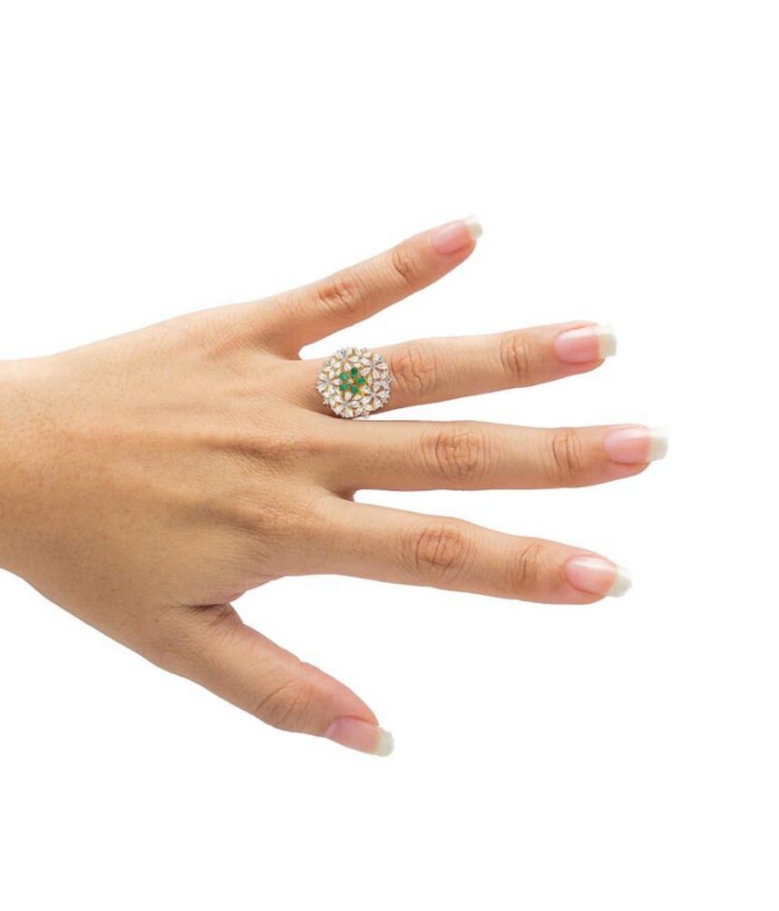 Jasmine Floral Statement Ring With Green Stones