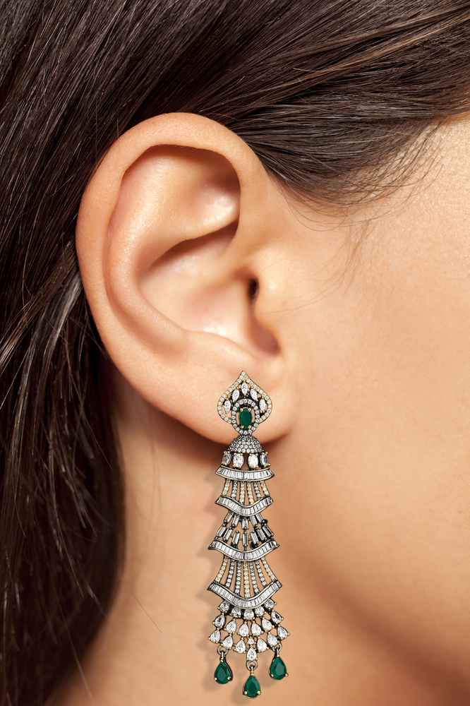Emerald Milana Statement Drop Earrings by Jaipur Rose Luxury Indian Statement Jewelry