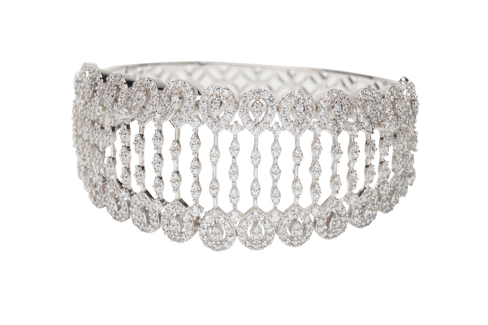 Nagris Statement Cuff In White Gold By Jaipur Rose