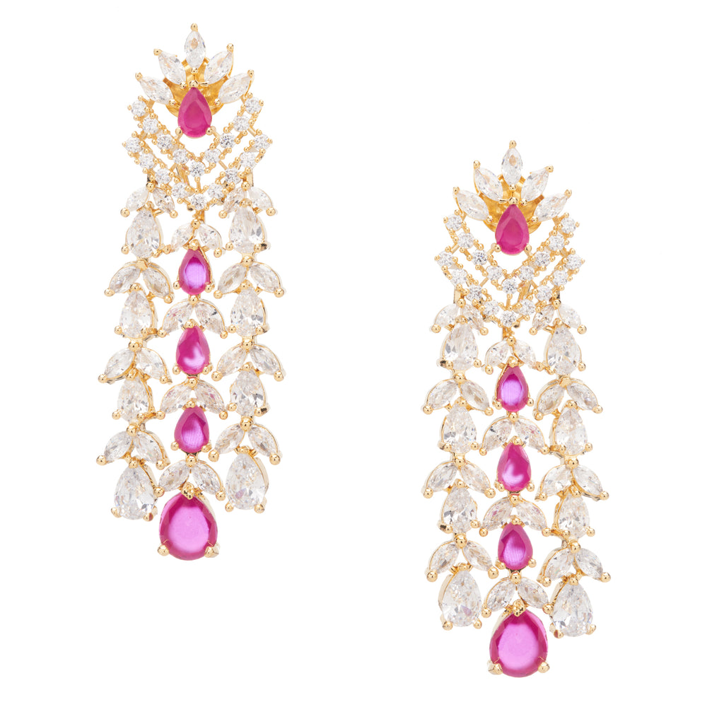 Ava Ruby Red Waterfall Drop Statement Earrings by Jaipur Rose Luxury Fashion Indian Jewelry