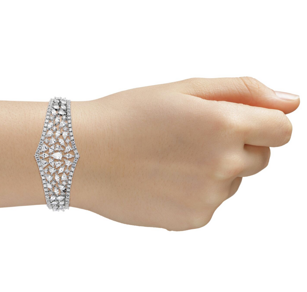 Sumaya Statement Bracelet White Gold Plated